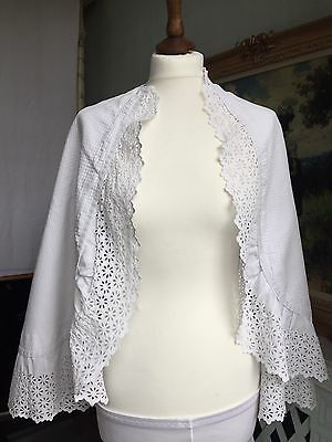 Antique Victorian Cape White Waffled Cotton Hand Embroidered Cutwork Floral