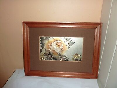 Japanese  39 By 28.8 Cm Wooden Frame With Signed Chokin Art Flower/leaf Picture