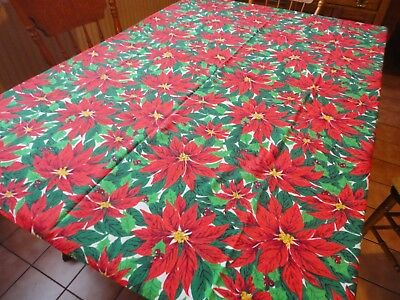 "VINTAGE 1970's CHRISTMAS TABLECLOTH RED POINSETTIA PRINT 53"" x 60"" COTTON"