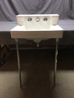 Vtg Mid Century Ceramic White Bath Shelf Back Sink Chrome Legs Standard 575-18E