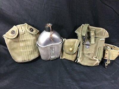 US WWII Army 1943 Vollrath Canteen w/Cup Cover Belt Small Arms Case