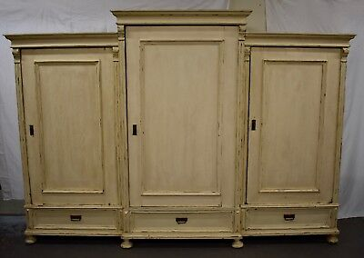 Massive Antique Painted Pine and Oak Three Section Armoire