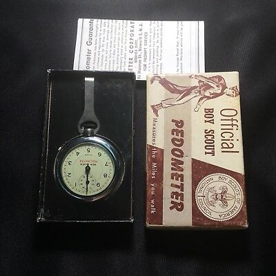 Vintage Official Boy Scout New Haven Clock Company Pedometer 1950s 1960s