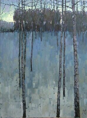 At sunset birch snow landscape winter Forest tree by AVDEEV RUSSIAN oil Painting