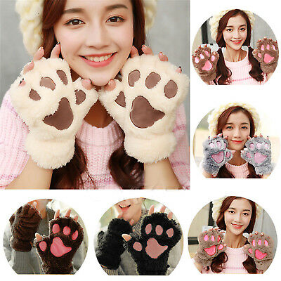 Womens Girls Fingerless Bear Cat Claw Paw Gloves Soft Plush Half Finger Mittens