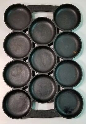 Rare Antique Cast Iron Muffin Pan 11 Cup Gate Marks Shallow Biscuit Corn Vtg # 1