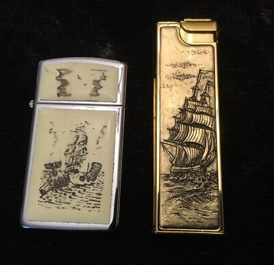 Pair Slim Lighters ZIPPO SCRIMSHAW SHIP WHALE XI & Flamex Soft Quartz-II -