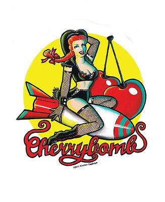 CHERRY BOMB SEXY REDHEAD PIN-UP R/C STICKER/Vinyl DECAL By Kirsten Easthope