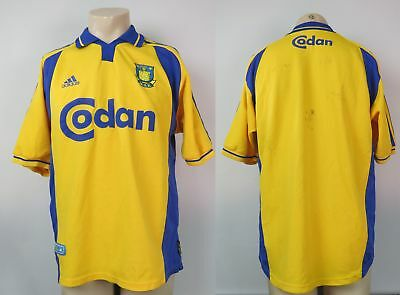 Brondby 2000-02 home shirt adidas soccer jersey size L 5 signatures