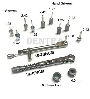 Dental implant Torque Wrench Ratchet 10-70 & 10-40NCM + Hex Screw Hand Drivers