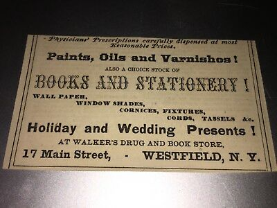 Vintage Walkers Drug And Book Store Ad Westfield,ny