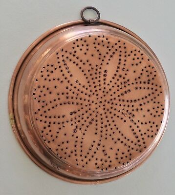 """Vintage Copper Siv Folk-art Wall-art Hanging-ring Large 11"""" Collectible"""