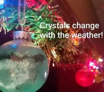 Storm glass Christmas ornament. Crystals change formation when weather changes.