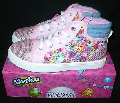 Shopkins Size 2 Girls Pink Printed Canvas Shoes NIB Sneakers Tennis Shoes
