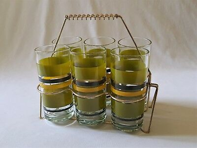Vintage C1970'S Tall Green Glasses In Wire Carry Storage Stand