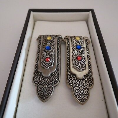 Pair of art deco dress clips set with colored diamantes