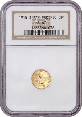 1915-S Panama-Pacific G$1 NGC MS67 - Popular Gold Commemorative Issue