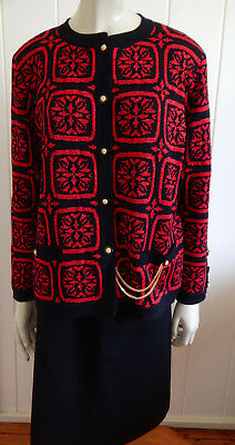 Spinelli classic vintage 1980s black, red & gold wool knit jacket size 14 - 16