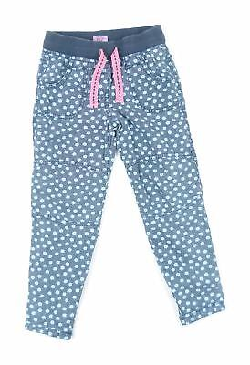 F&F Girls Blue Floral Trousers Age 3-4