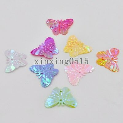 120PCS mix shiny Paillette butterfly sequins sewing Wedding 2 hole DIY crafts