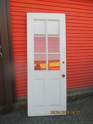 Exterior Antique Wood Door 6 Panes Glass 2 Vertical Panels 32 X 83