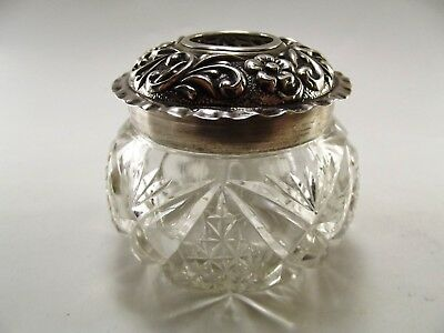 Antique Dressing Table Tidy With Silver Lid Hallmarked Birmingham 1903 Ref 201/2