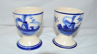2 Vintage Handpainted Blue/White Ceramic Egg Cups/Coddlers - Made in Holland