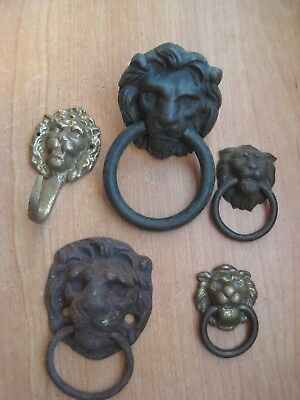 Antique Cast Iron & Brass Lion Head Drawer Pulls - Hook