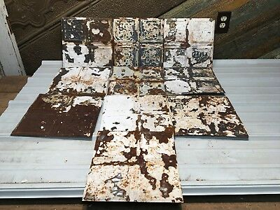 """10pc Lot of 11.5"""" x11.5"""" Antique Ceiling Tin Vintage Reclaimed Salvage Art Craft"""