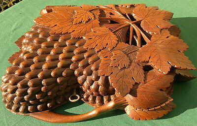Black Forest Hand Carved Jewelry Box Casket Grapes & Leaves