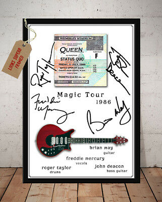 Queen The Magic Tour Wembley 1986 Ticket Stub Autographed Signed Photo Print