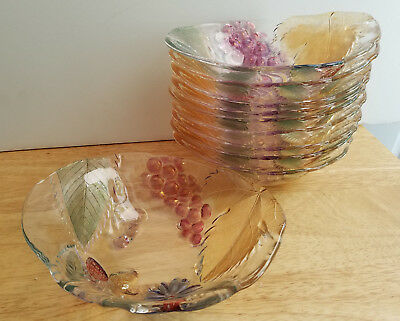 SOGA Clear Glass Bowl with Flower, Grapes, Strawberries, Cherries, Leaves JAPAN