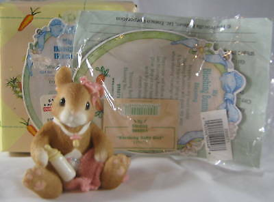 Enesco My Blushing Bunnies Blushing Baby Girl Bunny Sitting With Bottle 1997 Box