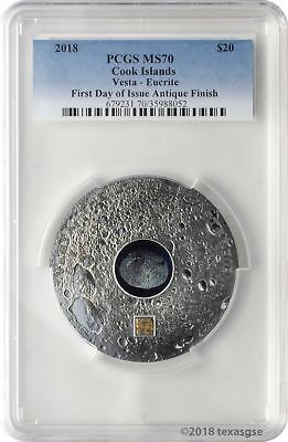 2018 $20 Cook Islands Vesta - Eucrite 3 oz. Silver Antiqued Coin PCGS MS70 FD