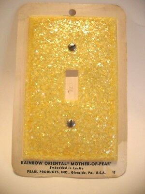 Vtg NOS Yellow Lucite Mother-Of-Pearl GLITTER Wall SWITCH Plate Rainbow Oriental