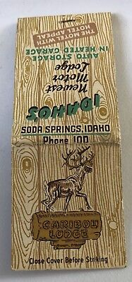 Old Matchbook Cover Caribou Lodge Soda Springs Idaho