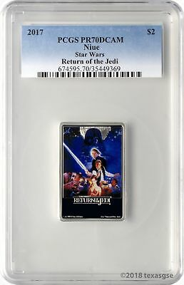 2017 $2 Niue Star Wars Return of the Jedi 1oz 999 Silver Coin PCGS PR70DCAM
