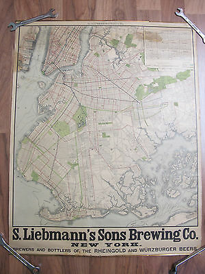 landkarte New York Manhatten Brookly Stadtplan City Map 1907 Liebmann´s Sons