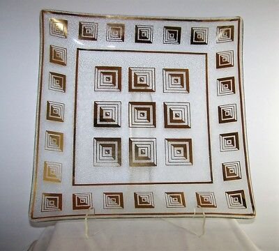 Mid Century Modern Large Square Glass Plate with Gold Geometric Design 1960's