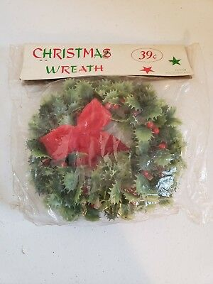 """Vintage Christmas Wreath NOS Hong Kong 6 1/2"""" - Holly with Red Velvety style Bow"""