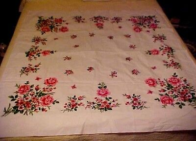 Vintage Printed Tablecloth w/ Pink Flowers and Roses