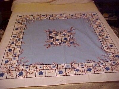 Vintage Startex Printed Tablecloth w/ Blue Flowers & Pink Pussy Willow