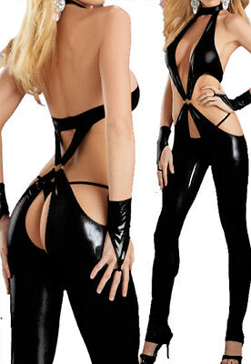 Sexy Wetlook Catsuit / Latex Lack Leder Body Domina Dress Reizwäsche / Xs - M