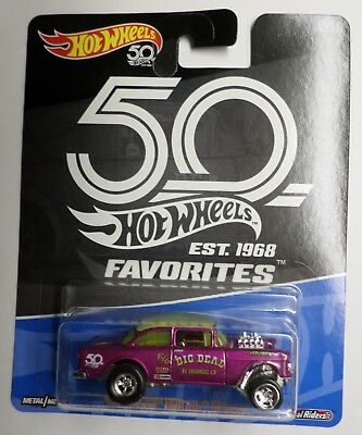 Hot Wheels 50th Favorites B Case '55 Chevy Bel Air Gasser Now Shipping! Bad Card