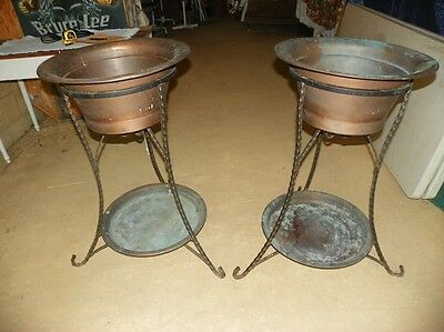 Antique Copper and Wrought Iron Plant Stands (1) Pair Rare and VGC!