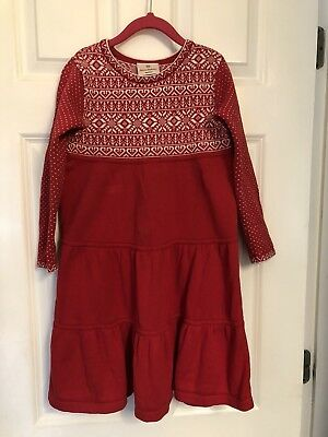 3b8673b6b9 Hanna Andersson Holiday Red White Sweater Dress 120 sz 6-7-8 PLAY CONDITION