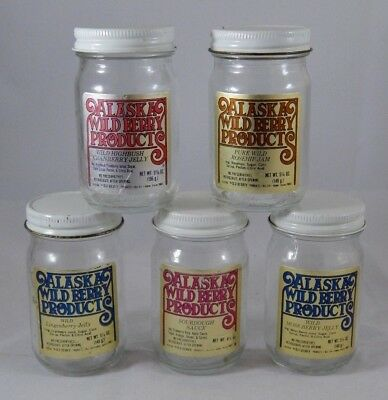 5 Vintage ALASKA WILD BERRY PRODUCTS Jelly Jam Jars Advertising 5.25oz