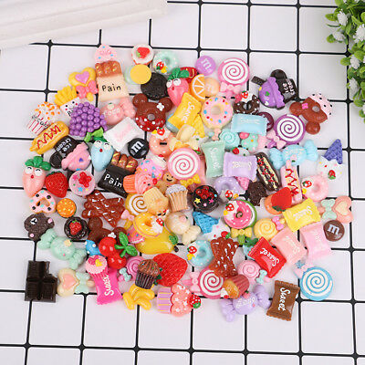 50PC Wholesale Assorted Kawaii Dessert Sweets Food Cabochon Resin Craft Flatback