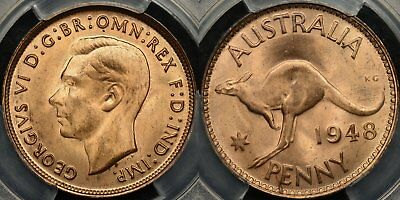 Australia 1948m Penny 1d Choice Uncirculated PCGS MS64RD RED