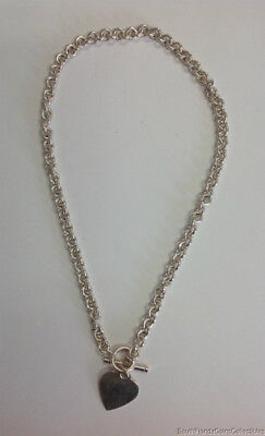 """Estate Jewelry Heart Tag Toggle Necklace Sterling Silver 16"""" Long"""
